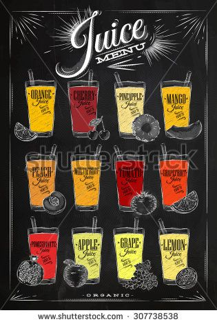 Poster juice menu with glasses of different juices drawing with chalk on the blackboard                                                                                                                                                                                 More