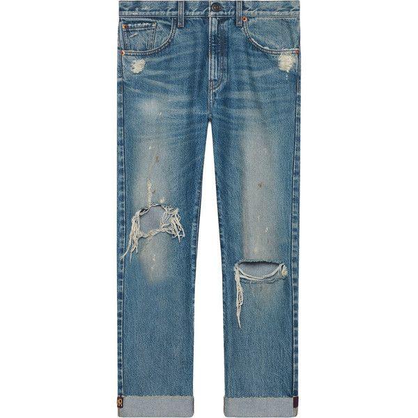 Gucci Jeans with embroidered ribbon ($1,100) ❤ liked on Polyvore featuring men's fashion, men's clothing, men's jeans, blue, mens distressed jeans, mens torn jeans, mens cropped jeans, mens straight jeans and mens blue ripped jeans