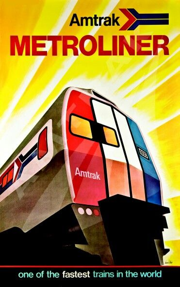 """Amtrak Metroliner"", Printed Paper Poster to Promote the 'High-speed Metroliner', Service (Washington-New York), (1973) - Illustration and Graphic Design by David Klein (b.1918 - d. 2005, American) for ""Amtrak"", Size: 25 x 40 inch, from: 'The Ann Owens Collection', (US)."