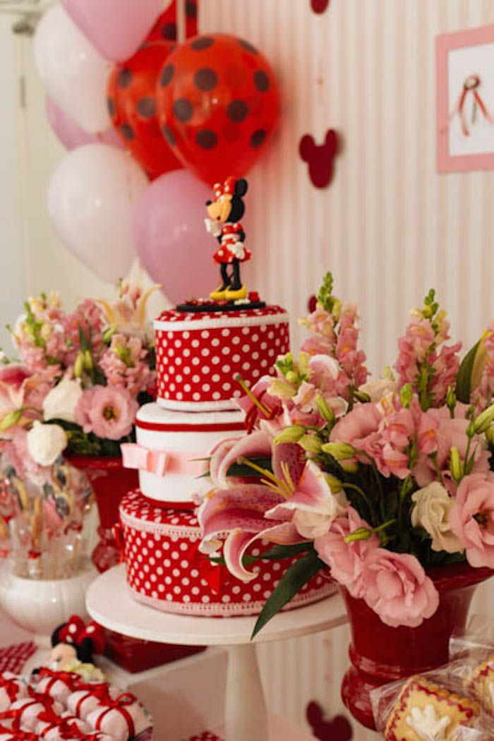 Minnie Mouse themed birthday party via Kara's Party Ideas KarasPartyIdeas.com | Favors, games, cakes, printables, and more! #minniemouse #minniemouseparty #girlyparty #partyideas #parytdecor (16)