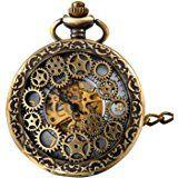 JewelryWe Retro Zahnrad Ritzel Hohe Openwork Handaufzug Mechanische Taschenuhr Skelett Uhr Pullover Halskette Kette