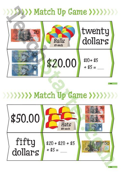 Australian Money Match Up Game Teaching Resource