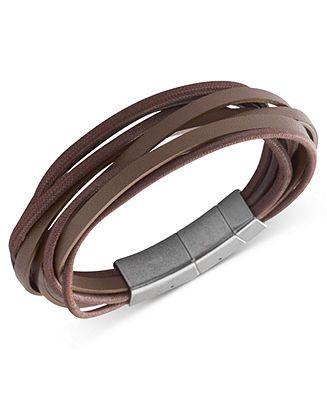 Fossil Men's Bracelet, Stainless Steel Brown Leather Multi-Strand Wrap Bracelet - Fashion Jewelry - Jewelry & Watches - Macy's