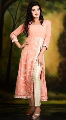 Long Tunic Top in Thread Embroidered Paisley Jaal Patterned Peach Georgette