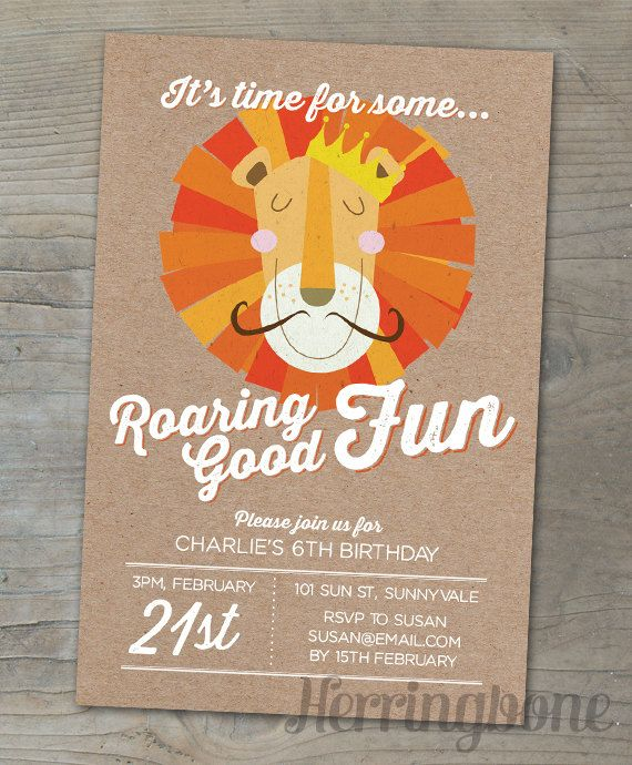 Lion Birthday Party Invitation - paper texture