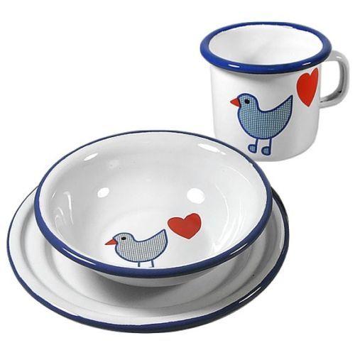 Email-Emaille-Set-Kinder-Geschirr-Kinderbecher-Kinderteller-Herz-Vogel-Royalblau