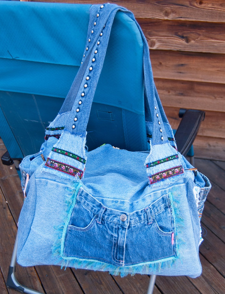 Huge Recycled Denim Duffel Bag Purse Tote Applique Lace Pockets Over Sized Unique Diaper Bag. $55.99, via Etsy.