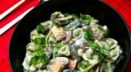 be healthy-page: Tortellini With Cream and Wild Mushroom Sauce