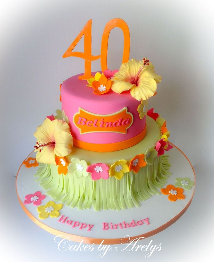 Tropical - Hawaiian theme cake with sugar hibiscus flowers