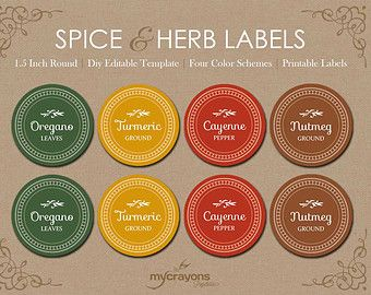 Editable Spice Jar Labels // DIY Printable Kitchen Labels // Round Spice & Herb Labels // 1.5 Inch Round Sticker, Gift for Mom, Kitchen Gift