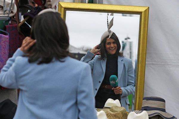 Lucy Verasamy Photos Photos - ITV Racing's Lucy Verasamy is seen on Ladies Day at Aintree Racecourse on April 7, 2017 in Liverpool, England. - Aintree Races