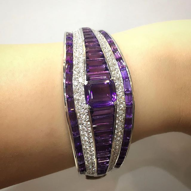 Beautifully designed and made Amethyst and Diamond bangle by Carlo BARBERIS fine jewellery . Jewellery Arabia 2016 Bahrain.