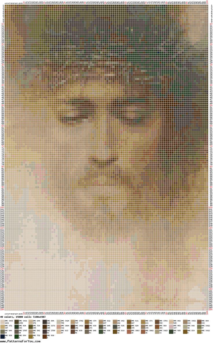 patrón para Punto de cruz - Jesús coronado de espinas