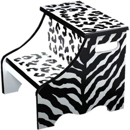 Black Zebra Step Stool from PoshTots: Step Stools, Zebras Step, Black Zebras, Kids Step, Animal Prints, Zebras Prints, Baby Kids Stuff, Crafts Kids Stuff, Jungles Animal
