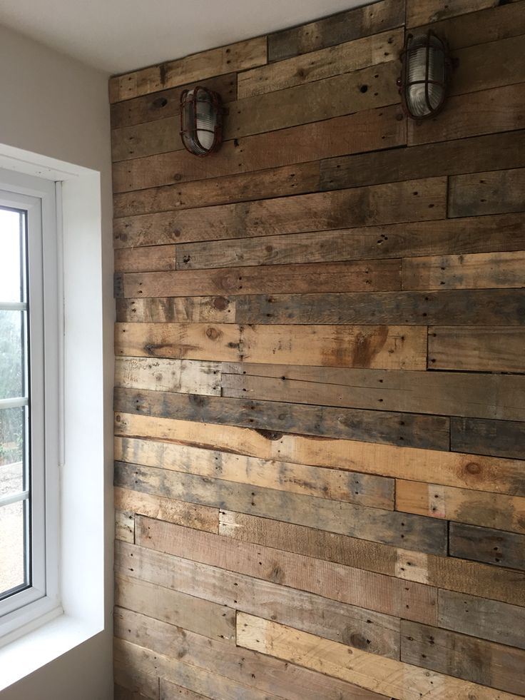 Pallet wood wall cladding clad rustic office Rusty light ...