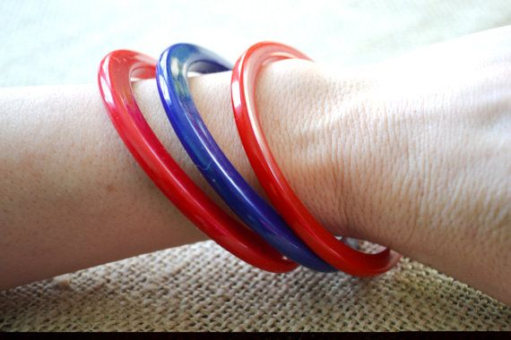 Vintage Acrylic Bangles Red and Blue 1970s by talkOfThetown, $10.00