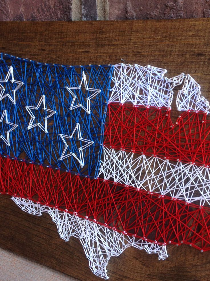 USA String art american flag wood sign forth of july decorations home decor red white and blue stars and stripes wooden independence day 4th by millyandoak on Etsy