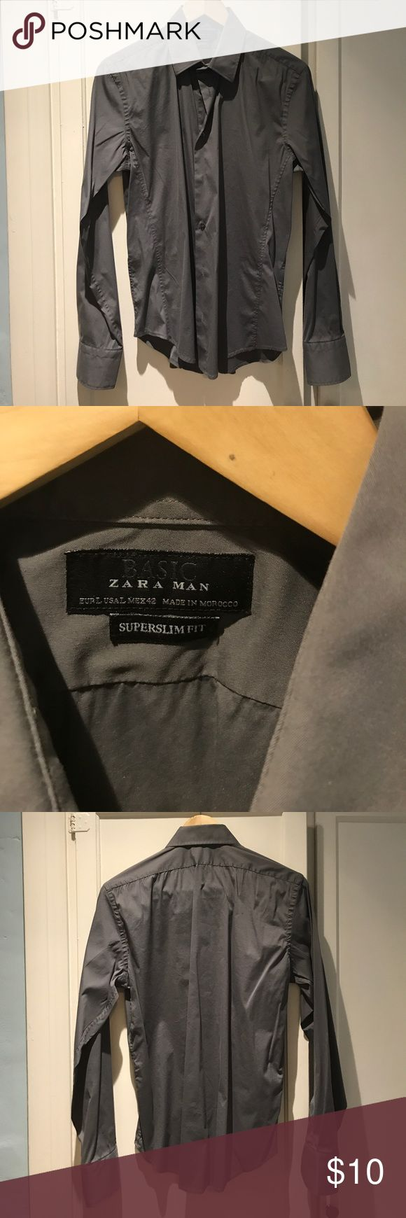 A Men's Zara Super Slim Fit Dress Shirt Size L A Men's Zara Super Slim Fit Gray Dress Shirt Size L in great condition. From a private estate in Beverly Hills, CA. Sorry no trades. Zara Shirts Dress Shirts