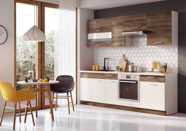 MIA modern konyhabútor   A MIA konyhabútor, egyszerű, modern és elegáns. A felső tárolók hossza 240cm az alsó szekrényeké 180 cm. A fogantyúk fémből készültek, a gázrugós vasalatok pedig a csillapítást szolgálják. Külön rendelhető hozzá 28 mm vastag többféle színből választható munkalap is.  Front színe: fahej akac / vanillia Korpusz színe: fehér Munkalap színe: több színben rendelhető Üveg: Satinato
