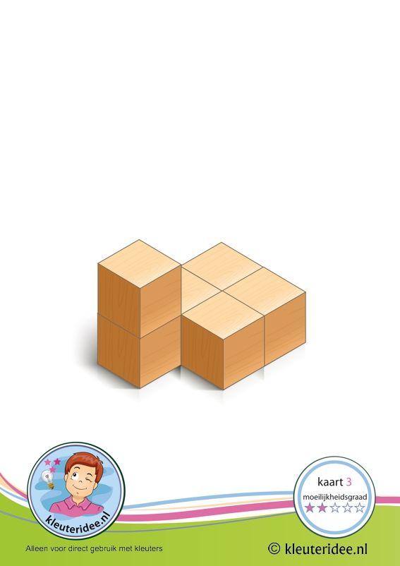 50 Buildingcards! Bouwkaart 3 moeilijkheidsgraad 2 voor kleuters, kleuteridee, Preschool card building blocks with toddlers 3, difficulty 2