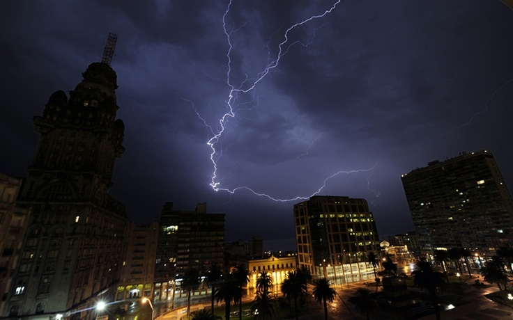A lightning bolt flashes over Independence Square in Montevideo, as a storm passes over the Uruguayan capital on Monday night Feb. 27, 2012