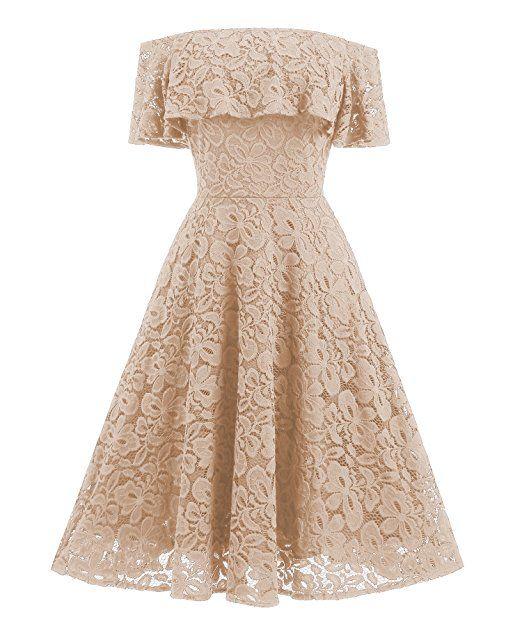 Gigileer Vintage 1950s Damen Kleid Spitzenkleid Off Schulter ...