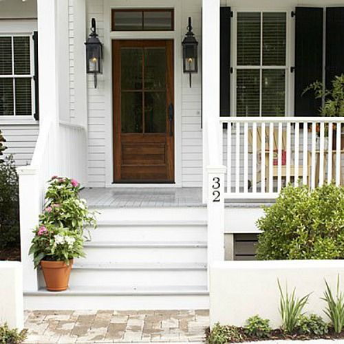 Lights on either side of the door; Sugarberry Cottage House Plan by Southern Living
