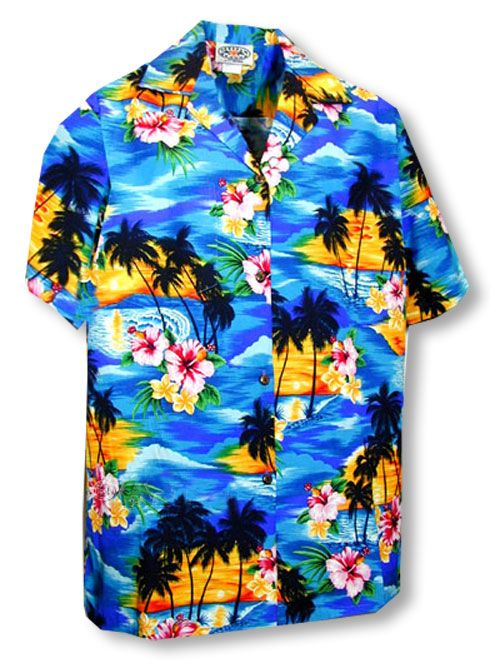 28c32b60 Brilliant Hawaiian Sunset Boy's Shirt created in Red and Blue. MauiShirts  search box stock number: 211-3104