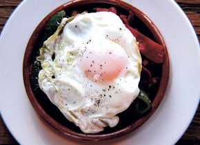 Migas with Chorizo, Peppers, and Fried Eggs