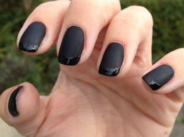 Французский маникюр шеллаком черным матовым и глянцевыми лаками ::: onelady.ru ::: #nail #nails #nailart #manicure