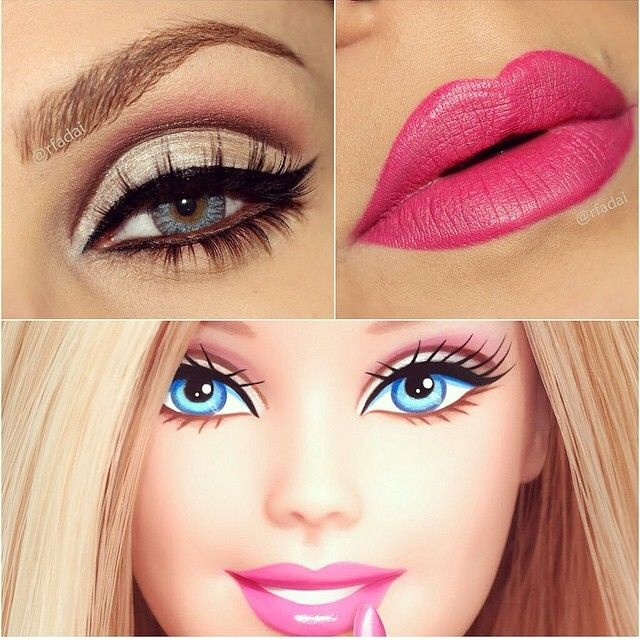 I wanted to include this image within my design ideas, i really like this image as it shows how barbie wears her make up as a doll and how her make up has been recreated. I love the eye in this image, the cut crease looks very effective and makes the eyes look very big and open as barbie has very big eyes.