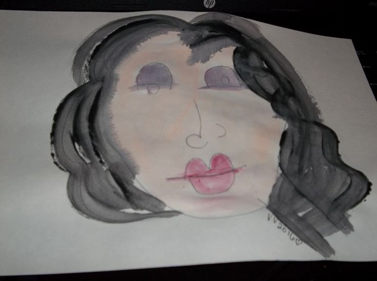 blind drawing painting portrait of girl named Iris