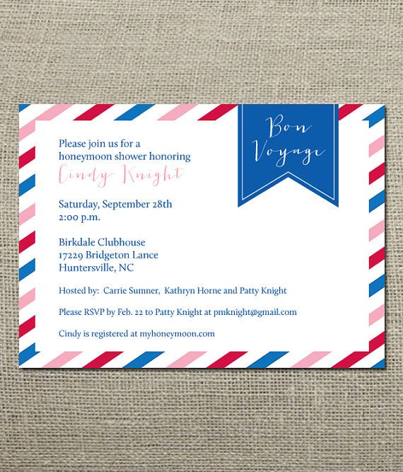 Bon Voyage - Honeymoon Travel Theme Wedding Shower Invitation