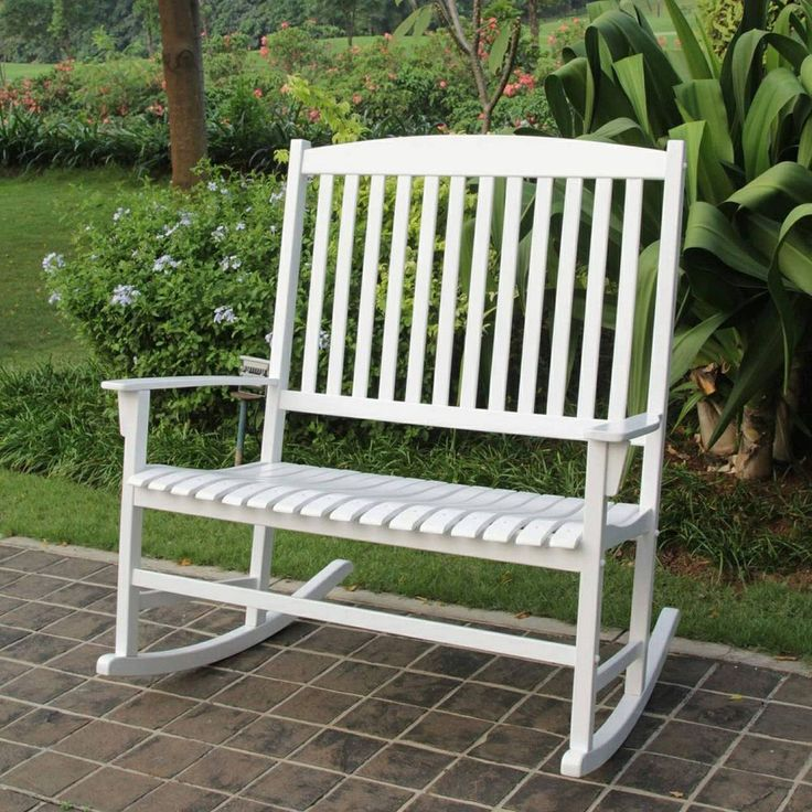 Outdoor Rocking Chair White Double Seat Lawn Patio Wood Garden Furniture  Modern #OutdoorRockingChair