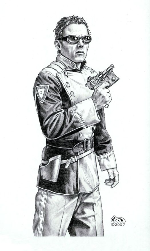 An artist's depiction of Mile Vorkosigan - dendarii uniform inspiration