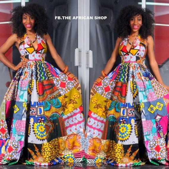 NEW Africa Maxi Dress van THEAFRICANSHOP op Etsy