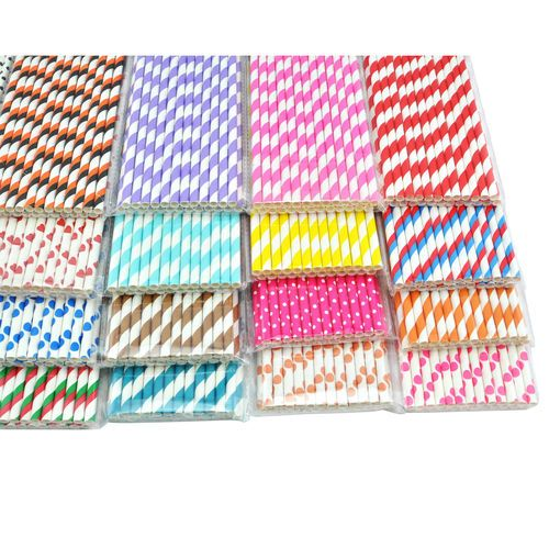 25 x STRIPED PAPER DRINKING STRAWS-RAINBOW MIXED FOR PARTY TABLE DECORATIONS $1.50