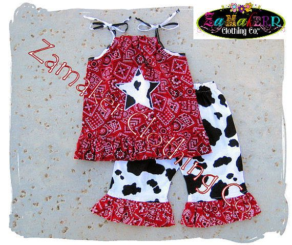 Girl Cow Outfit Pant Set Girl Cow Birthday by ZamakerrClothingCo, $42.99
