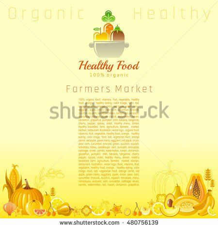 Yellow autumn farmers market fruit and vegetable vector. Food icons, text lettering cooking pan logo, organic diet icon. Fruits - pear, melon, cherry, lemon. Vegetables - corn, onion, cereals, apple