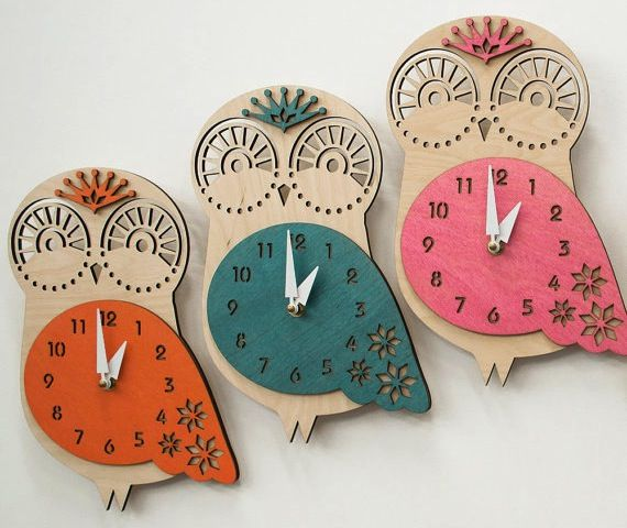 Wood Owl Wall Clock at the Little Crown Interiors Boutique