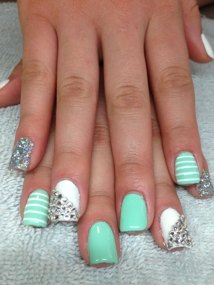 Nail designs mint green beautify themselves with sweet nails design art fun mint nails nails design mint green prinsesfo Gallery