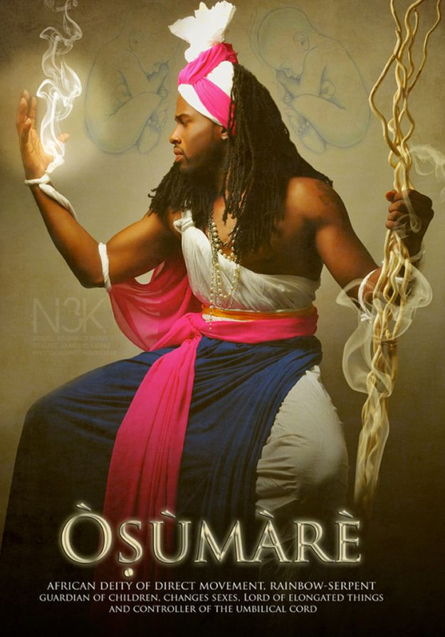 Osumare: African deity of direct movement, rainbow-serpent, guardian of children, changes sexes, lord of elongated things, and controller of the umbilical cord