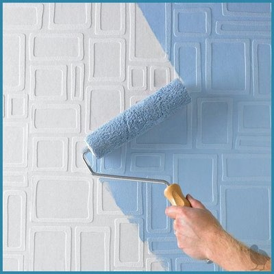 This idea uses both wallpaper and paint first the textured wallpaper is applied and then you paint over it to give it some color