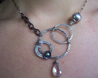Multi trenzada perla de agua dulce collar por dnajewelrydesigns