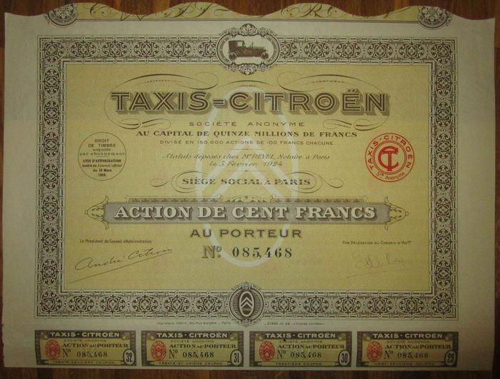 Frankrijk-taxi's Citroen - DECO Aktie deelgenoot maken van 100 Frank 1924 - auto vignet  Aktie / Share 100 Francs 1924 decoratief ontwerp met de auto vignet vouwen anders EF met coupons.De foto's geven een goede indruk.  EUR 3.00  Meer informatie