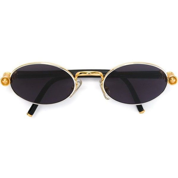 Gianfranco Ferre Vintage Round Frame Sunglasses ($222) ❤ liked on Polyvore featuring accessories, eyewear, sunglasses, glasses, black, vintage sunglasses, round metal sunglasses, dark tinted sunglasses, vintage glasses and metal sunglasses