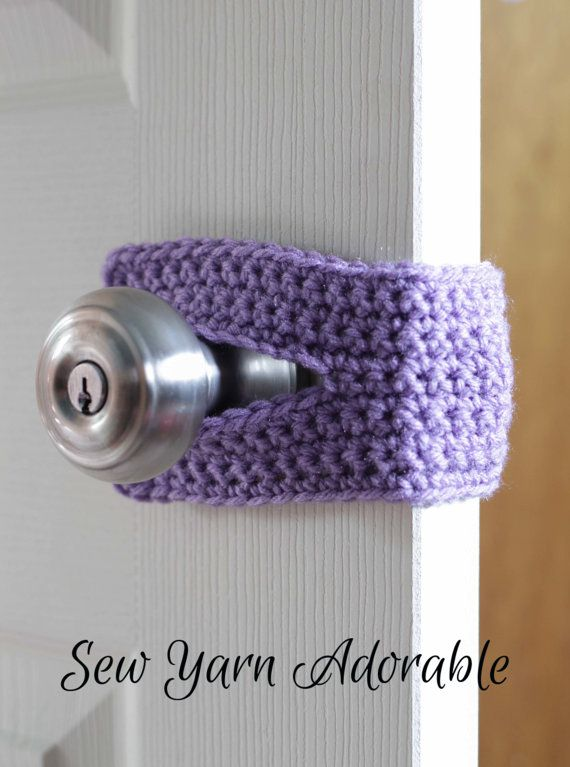 Crochet Door Silencer (Purple, Grey, Yellow, Pink, Brown and Teal), Door Silencer, Door Jammer,  Door Latch Cover,  Door Muff