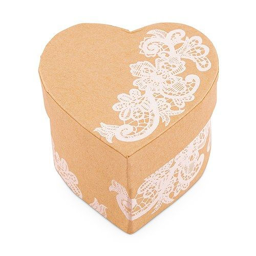 Heart Kraft Box with Vintage Lace Print