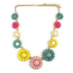 Multi-coloured Multi Flower Necklace presented on a gold chain Flowers are sky blue bright pink cream yellow and pale pink Necklace length 21cm 7 5cm
