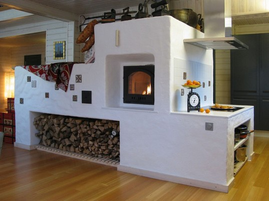Designed after the old style Russian stoves that warmed dachas in the villages.  Love it!